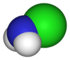 Spacefill model of chloramine