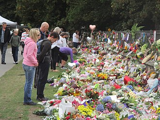 Christchurch mosque shootings - Members of the public outside the Christchurch Botanic Gardens on 18 March 2019.
