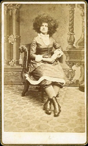 Afro - One of P.T. Barnum's Circassian beauties sporting an Afro