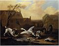 Circle of Pieter Casteels III - A spaniel threatening geese in a farmyard.jpg