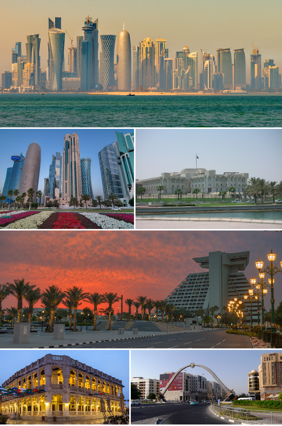 Top to Bottom, Left to Right: Doha skyline in the morning, Modern buildings in West Bay district, Amiri Diwan which serves as the office of the Amir of Qatar, Sheraton hotel, Souq Waqif, Sword Arch on Hamad Street.