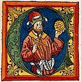 """Claudio Tolomeo - In una miniatura del trattato """"Geografia"""" stampato a Ulm (Germania) nel 1482.jpg"""