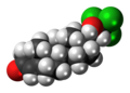 Cloxotestosterone molecule spacefill.png