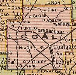 Coal County Oklahoma Wikipedia - Counties of oklahoma map