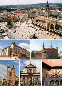 Main Mercat Square, Wawel Castle, Barbican, St. Mary's Basilica, St. Peter an Paul Kirk, Collegium Maius