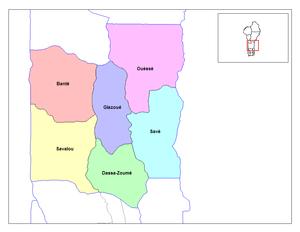 Collines Department - Communes of Collines