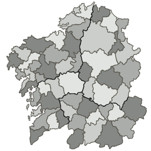 Galician nationalism - Map of Galician Comarcas (shires)