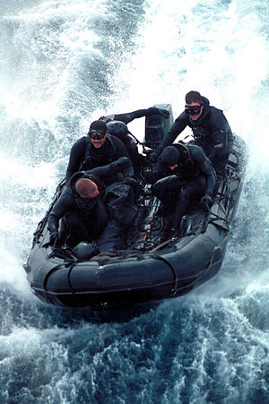 Combat Rubber Raiding Craft - A CRRC manned by U.S. Navy SEALs from SEAL Team 5 during an exercise in 2000.