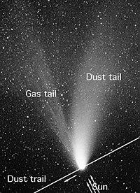 As típicas duas caudas dos cometas