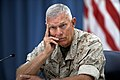 Commandant of the Marine Corps Gen. James Conway considers a reporter's question Aug. 24, 2010, during a press briefing at the Pentagon 100824-D-WQ296-069.jpg