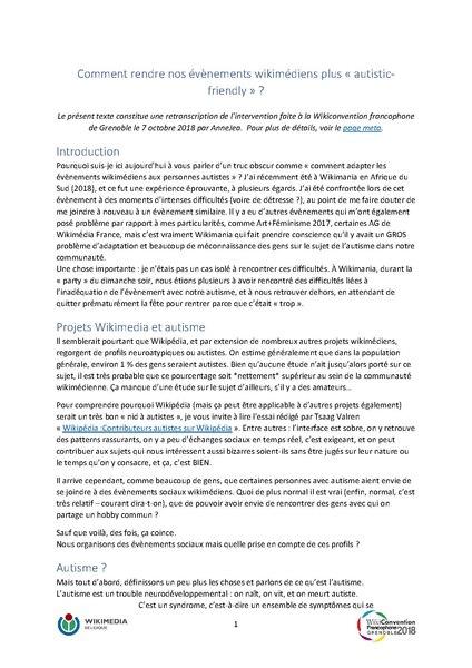 File:Comment rendre les évènements wikimédiens plus autistic-friendly ? Résumé et questions, Wikiconvention francophone, 7 octobre 2018.pdf