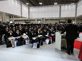 Simultaneous recruiting of new graduates - A company information session for new graduates in Japan.