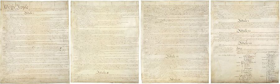 Original parchment pages of the United States Constitution