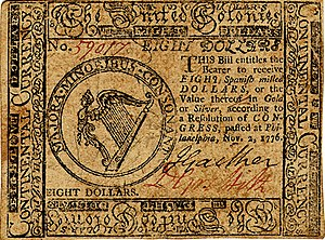 Continental Currency $8 banknote obverse (November 2, 1776).jpg
