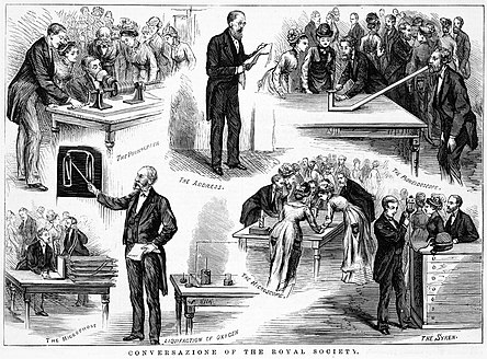 Wood engraving published in The Illustrated Australian News, depicting a public demonstration of new technology at the Royal Society of Victoria (Melbourne, Australia) on 8 August, 1878. Conversatione of the Royal Society of Victoria.jpg