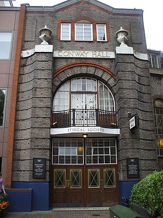 Conway Hall Ethical Society - Conway Hall, now numbered as  25 Red Lion Square, London, WC1R 4RL