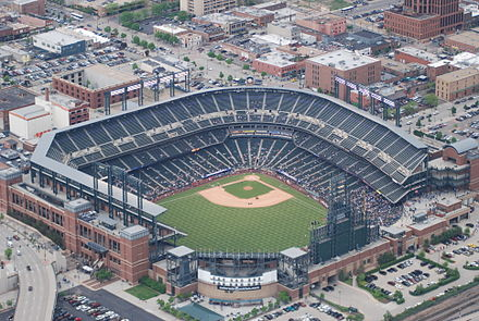 Coors Field, home of the Colorado Rockies Coors field aerial 1.JPG