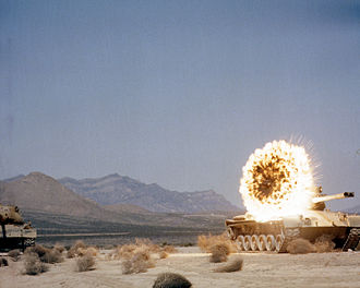 M47 Patton - A Copperhead laser-guided anti-tank missile fired from a towed M198 155 mm howitzer detonating on contact with a target M47 tank.