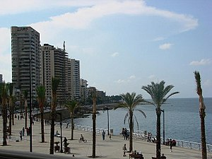 Culture of Lebanon - Palm trees at the seafront in Corniche Beirut