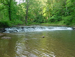 Crockett Falls in David Crockett State Park (Front View - June 2005).jpg