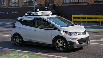 Cruise Automation - A Cruise Automation Chevrolet Bolt undergoing testing in San Francisco. The vehicle is equipped with numerous Velodyne LiDAR sensors.