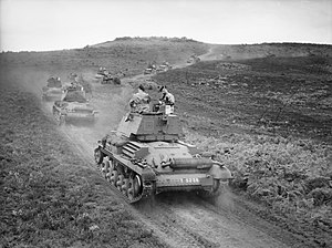 1st (United Kingdom) Division - Cruiser Mk I tanks of the 5th Royal Tank Regiment, 1st Armoured Division, on Thursley Common, Surrey, July 1940.