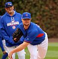 Cubs lefty Jon Lester throws a bullpen session at Wrigley Field. (29987275543).jpg