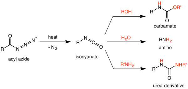 Summary scheme of the Curtius rearrangement