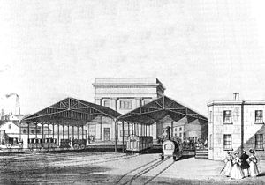 Curzon Street railway station - 1838 drawing of the rear of the station's platforms while in operation.