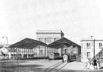 Birmingham Curzon Street railway station (1838-1966) - 1838 drawing of the rear of the station's platforms while in operation.