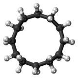 Ball-and-stick model of the cyclododecane molecule