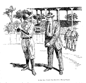 Bert Daniels - Scout Arthur Irwin helps Daniels with his stance, about 1911.