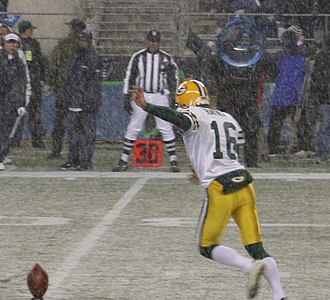 Dave Rayner - Dave Rayner, as a member of the Packers, kicks off during a Monday Night Football game in 2006.