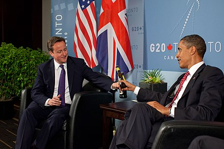 Meeting with UK Prime Minister David Cameron during the 2010 G20 Toronto summit David Cameron and Barack Obama at the G20 Summit in Toronto.jpg