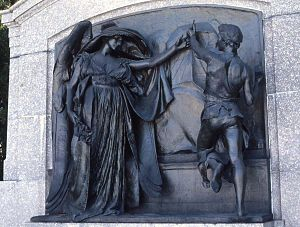Forest Hills Cemetery - Death Staying the Hand of the Sculptor (Martin Milmore Monument), by Daniel Chester French (1889-93).