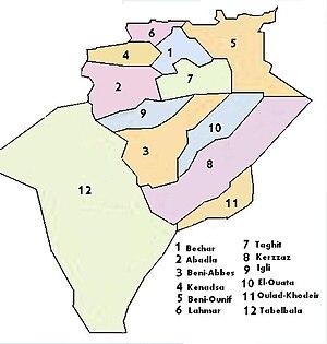Béni Abbès - Geographic location of Béni Abbès in Béchar Province (N 3)