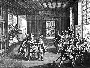 Thirty Years' War - A contemporary woodcut depicts the Second Defenestration of Prague (1618), which marked the beginning of the Bohemian Revolt, and therefore of the first phase of the Thirty Years' War.