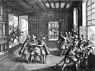 State formation - A woodcut of the Defenestrations of Prague in 1618—which began the Thirty Years' War and ended with the Peace of Westphalia that started the recognition of the modern state