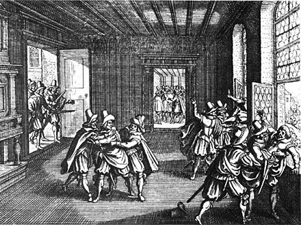 The 1618 Defenestration of Prague marked the beginning of the Bohemian Revolt against the Habsburgs and therefore the first phase of the Thirty Years' War. Defenestration-prague-1618.jpg