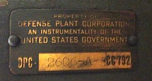 Reconstruction Finance Corporation - An identification nameplate on a motor formerly owned by the Defense Plant Corporation