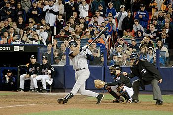New York Yankees shortstop Derek Jeter batting...