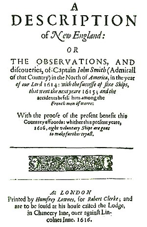 New England - Title page of John Smith's A Description of New England (1616)