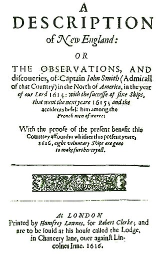 "Plymouth Colony - Title page of Captain John Smith's 1616 work A Description of New England, the first text to use the name ""New Plymouth"" to describe the site of the future colony"