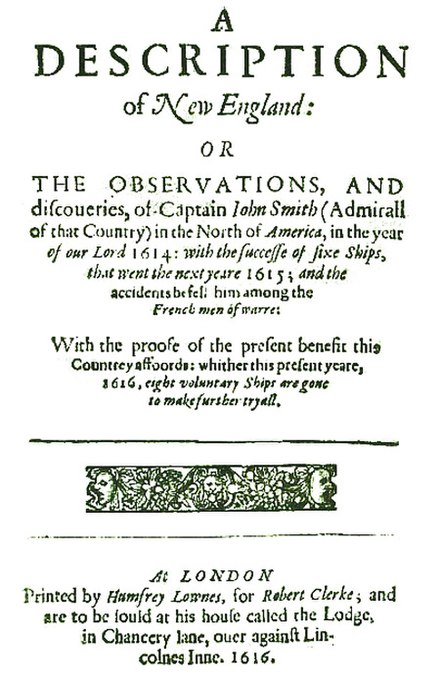 "Title page of Captain John Smith's 1616 work A Description of New England, the first text to use the name ""New Plymouth"" to describe the site of the future colony Descr.of.New England-Title page.jpg"