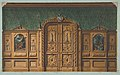 Design for a room with wood panels inset with paintings and a heavily-carved double door MET DP811570.jpg