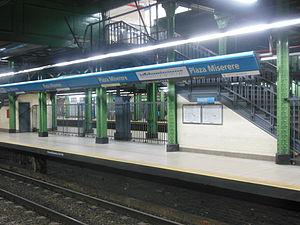 Plaza Miserere (Buenos Aires Underground) - Image: Detalle de la estación Plaza Miserere