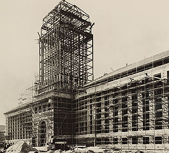 Cambridge University Library - Construction of the current main UL building in the 1930s.