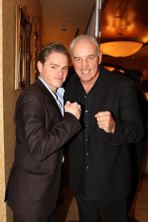 Gerry Cooney - Cooney (right) with actor Devin Harjes, 2011