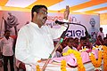 Dharmendra Pradhan addressing the gathering during the 'Triranga Yatra' in Gad Rodanga village, the birthplace of great freedom fighter Buxi Jagabandhu, at Brahmagiri block of Puri district, Odisha.jpg