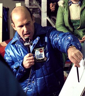 Dick Button - Button commentating at the 1980 Winter Olympics in Lake Placid